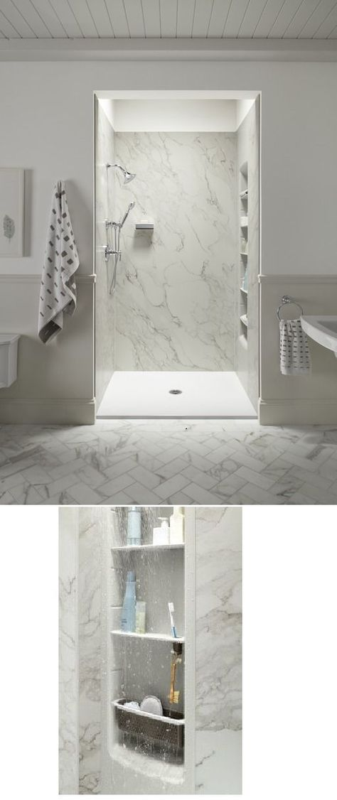@kohlerco offers stylish showers including faux marble walls and extreme organization! Give your bathroom a classy make over without a large price tag!