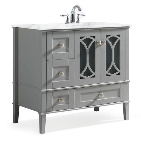 Wyndenhall Mulberry 36 Inch Right Offset Bath Vanity In Warm Grey