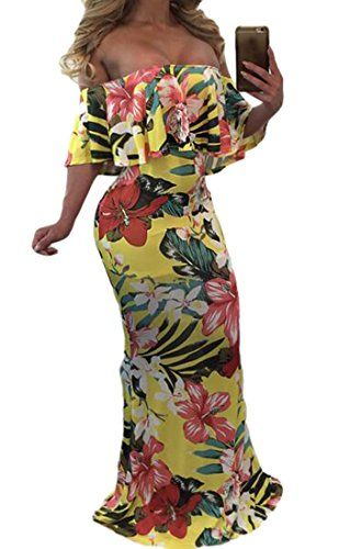 WANSHIYISHE-Women Off Shoulder Ruffles High Waisted Party Long Wide Leg Jumpsuit