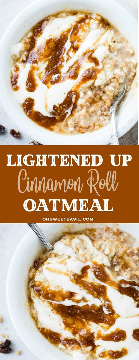 Oatmeal cookies, oatmeal protein energy bites, oatmeal for breakfast, you name it and we love oatmeal. Our lightened up cinnamon roll oatmeal even tastes like it has a cream cheese frosting! #cinnamonroll #healthybreakfast #oatmeal #breakfastrecipe #recipe #easyrecipe #kidfriendly