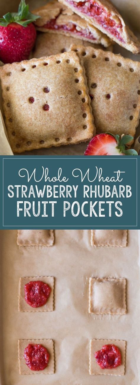 A tasty, kid-friendly, portable fruit pocket made with a whole wheat crust and fresh strawberries and rhubarb. #strawberryrhubarb #fruitpockets #wholewheat #strawberries #rhubarb #breakfast #dessert #snacks