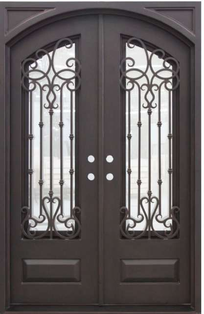 Portland 60 5 X 93 25 Iron Double Door 7365r 7364l Iron Doors Glass Panels Double Doors