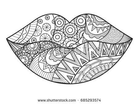 Line Art Design Of Woman Lips For Adult Coloring Book And Design