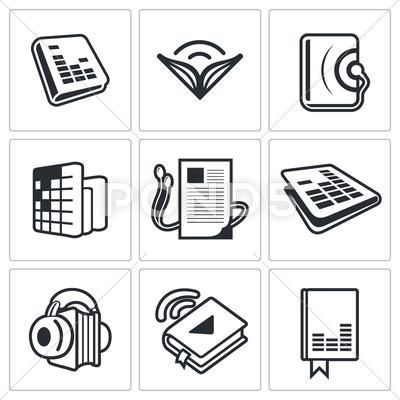 Audio Book Icon Collection Stock Illustration Ad Icon Book Audio Illustration Book Icons Audio Books Floral Typography
