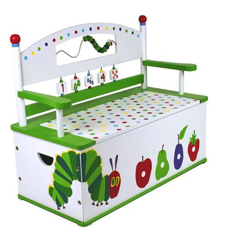 The Very Hungry Caterpillar Bench Seat w/ Storage Toy Box / Toy Chest The Very Hungry Caterpillar Bench Seat w/ Storage by Levels of discovery features: Entertaining seat back includes apple finials and caterpillar bead maze Spinning tiles help teach