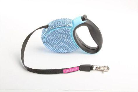 FabuLeash Crystal Retractable Dog Leash - Blue