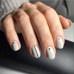 Nail Line And Dot Manicure Nail Art Stripes Minimal Nails Cute Simple Nails