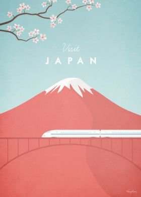 Japan Travel Poster Print Metal Posters With Images Japan Illustration Travel Posters Vintage Travel Posters