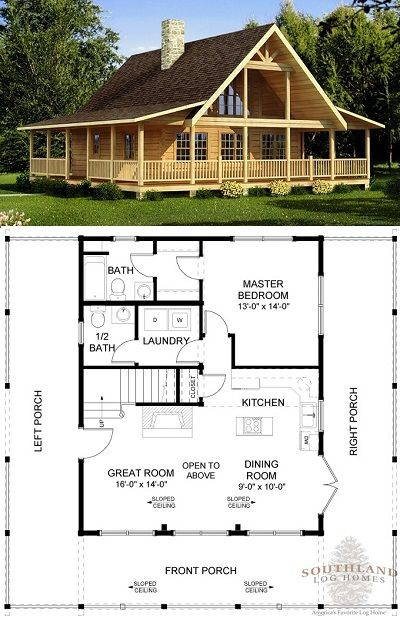 Log Home With Wraparound Porch Cabin House Plans House Plans Farmhouse Dream House Plans