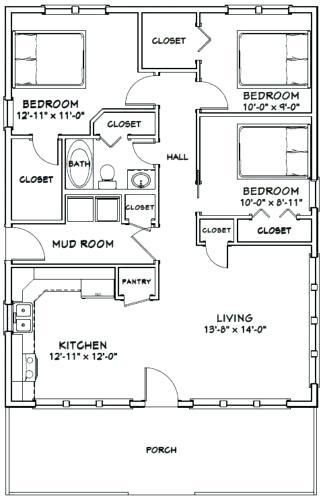 95 3 Bedroom House Floorplan Small House Floor Plans House Floor Plans Bedroom House Plans