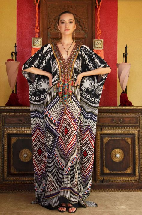 This gorgeous black and white print in our signature kaftan dress is perfect for holidays, vacations and casual summer days, Get this dress up to OFF.