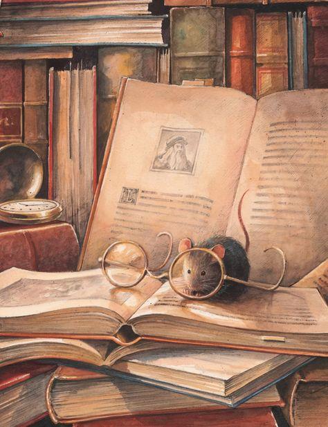 Vintage Books Illustration Mice Ideas For 2019 Art And Illustration, Illustration Children, Magazine Illustration, Animal Illustrations, Art Fantaisiste, Reading Art, I Love Books, Idea Books, Whimsical Art