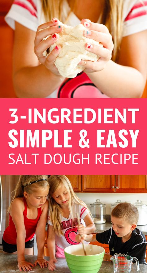 Salt Dough Recipe -- this simple and easy salt dough recipe is the perfect rainy day activity. Kids will master valuable kitchen skills while learning how to make salt dough, and then spend hours playing with it! Salt Dough Handprints, Salt Dough Crafts, No Bake Salt Dough Recipe, Salt Playdough Recipe, Salt Dough Ornaments Recipe No Bake, Modeling Dough, Baking Clay, Rainy Day Activities, Scout Activities