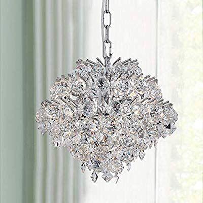 Bestier Modern Pendant Chandelier Crystal Raindrop Lighting Ceiling Light Fixture Lamp For Crystal Chandelier Dining Room Ceiling Lights Ceiling Light Fixtures