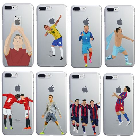 a2df9b3c11 Football Case Pogba karim Benzema Cristiano Ronaldo Messi phone case for iphone  7 6plus 6 6s 5s se TPU clear back cover coque