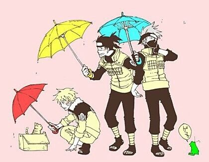 Naruto gives umbrella to cat. Iruka gives Naruto his umbrella. Kakashi shares his with Iruka. =-= they're too big to share though so like they'll both end up half soaked.