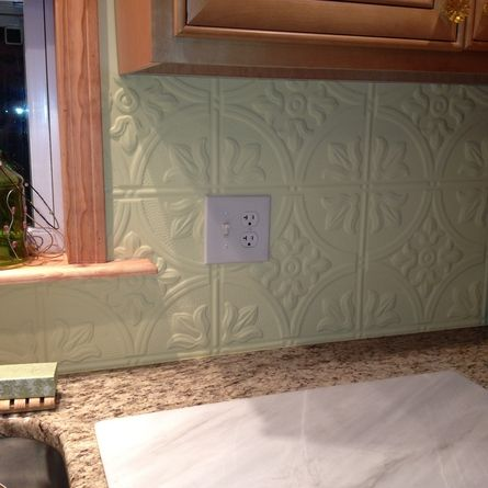 Creamy White Granite Tin Backsplash In #3 Pattern. $12   My Painted Country  Kitchen   Pinterest   Tin Ceilings, White Granite And Ceiling Tiles