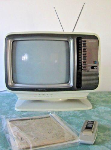 Vintage 1970 039 S Toshiba Blackstripe Color Tv C399 Television White Swivel Base Vintage Television Television Toshiba