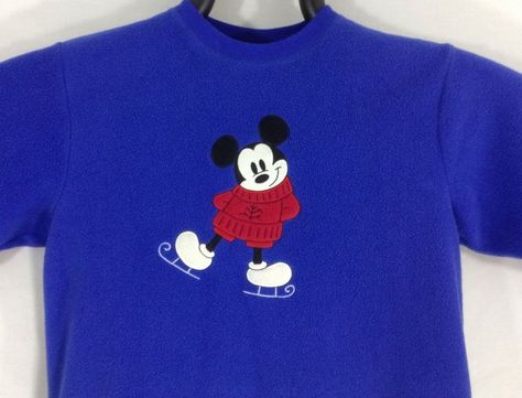 S Disney Mickey Mouse Sweatshirt Blue Red Black White Ice Skate Small Women in Sweats & Hoodies