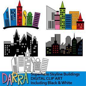 Superhero Skyline City Buildings Clip Art Clip Art Superhero