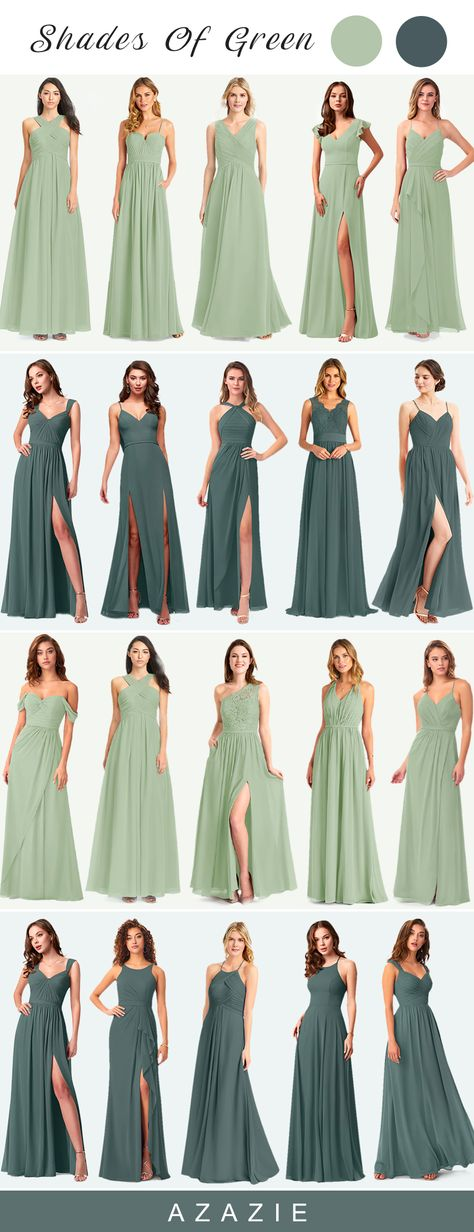 You can always catch others' eyes with our bridesmaid dresses and whether long or short dresses are for sale here. #azazie #bridesmaiddresses #summerwedding #weddingideas #weddingcolors #greenwedding