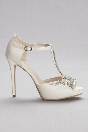 Crystal T Strap Satin Peep Toe Platform Heels David S Bridal Davids Bridal Shoes Wedding Shoes Platform Ankle Boots Sale