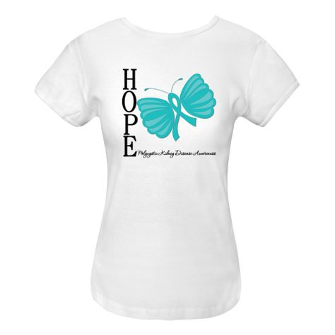 Polycystic Kidney Disease Hope Women's Fitted T-Shirts featuring our original whimsical butterfly ribbon to inspire while raising awareness for your cause. Ideal for awareness events or as a gift to promote hope. $15.99 awarenessribboncolors.com