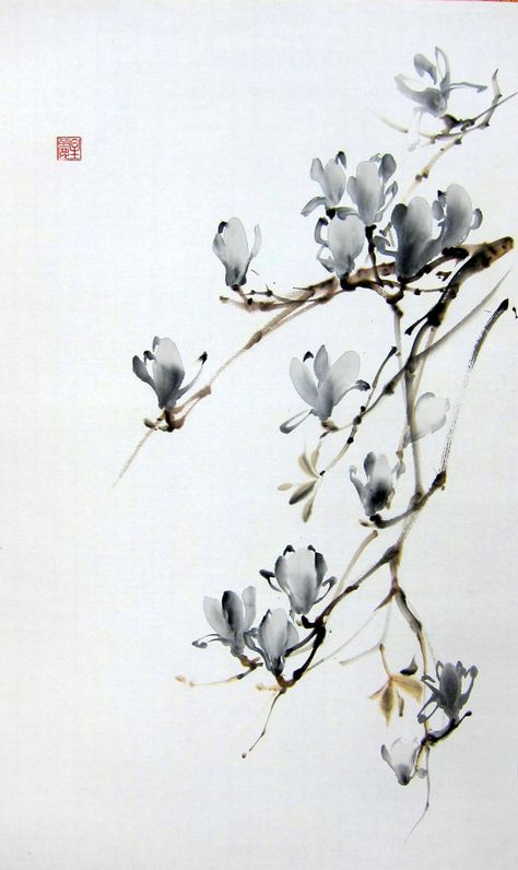 Magnolia Floral de Suibokuga encre Peinture Sumi-e japonais