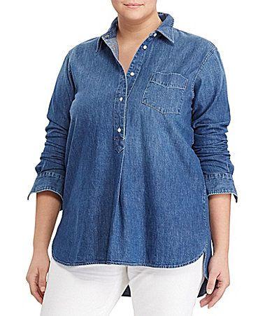 b436523ca5c Lauren Ralph Lauren Plus Twill Denim Shirt  Dillards