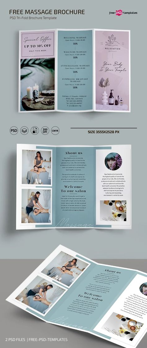 Free Massage Trifold Brochure Template in PSD