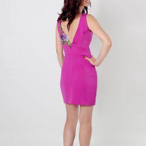 Vestido para fiesta corto, entallado en rosa magenta
