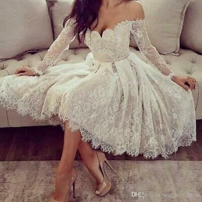 Off Shoulder Short Lace Wedding Dresses Tea Length Long Sleeves Bridal Gowns Ebay Long Sleeve Bridal Gown Lace Homecoming Dresses Cocktail Dress Lace