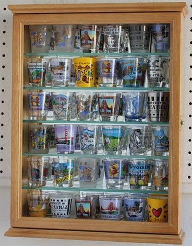 Shot Glass Display Case Holder Cabinet Wall Rack Mirror Back Glass