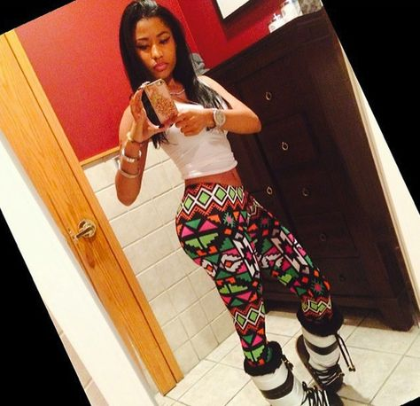 Pic Nicki Minaj is wearing very similiar leggings Size Large Excellent Condition! Bundle in my closet to save more or make an offer ktoo Pants Leggings Nicki Baby, Nicki Minja, Nicki Minaj Barbie, Nicki Minaj Outfits, Nicki Minaj Pictures, Aztec Print Leggings, Cute Swag Outfits, Dressy Outfits, Dope Outfits