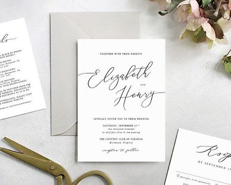 Printable Wedding Invitations, Wedding Invitation Template, DIY Invitations, Simple Invitations