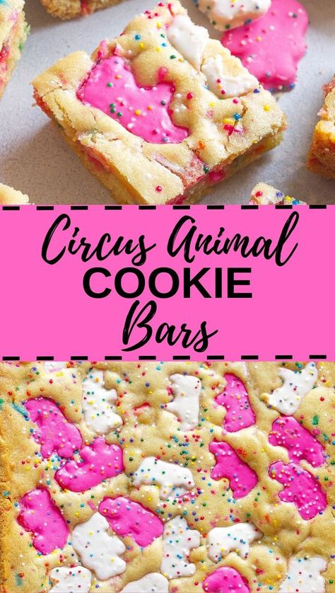 These soft and chewy Circus Animal Cookie Blondies are buttery and sweet. Pieces of the famous Circus Animal Cookies are in each bite! Summer Cookies, Baby Cookies, Heart Cookies, Valentine Cookies, Easter Cookies, Birthday Cookies, Circus Cookies, Sweet Cookies, Baby Shower Cookies