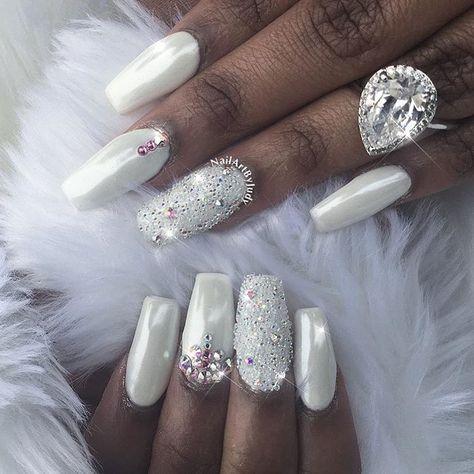 Gorgeous #whitenails with White Chrome & Swarovski CrystalPixie accents! By @nailartbyjudy  Shop for Magic White Chrome powder & Swarovski crystals at DailyCharme.com  #weddingnails #swarovskinails