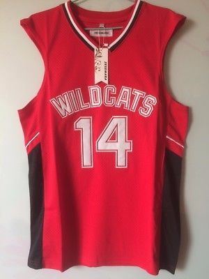 aaca5a460 Troy Bolton High School Musical Wildcats Basketball Jersey Red White Zac  Efron