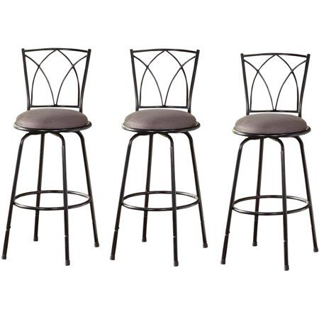 Tms Delta Adjustable Height Metal Barstools Black Set Of 3 Image 4 Of 4 With Images Metal Bar Stools Bar Stools Bar Table Sets