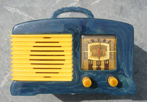 FADA SW-57 L56 BLUE & Yellow Catalin Bakelite ORIGINAL Radio from Radio Craze