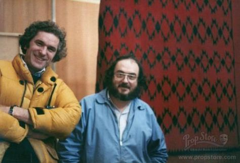 Never-before-published photo of Stanley Kubrick and Assistant Director Brian Cook on the set of The Shining.  (photo courtesyProp Store)