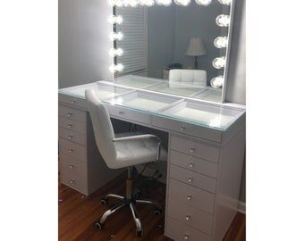 Free Shipping Financing Vanity Mirror With Lights Etsy Mirrored Desk