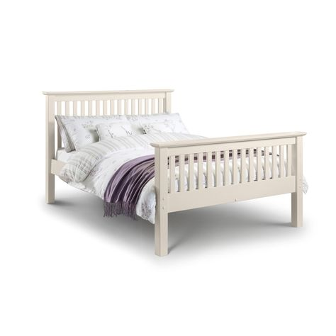 Barcelona Off White Hfe Double Bed Frame With Value Mattress High Kingsize Bed Frame With Mattress Upholstered Bed Frame Bed Frame