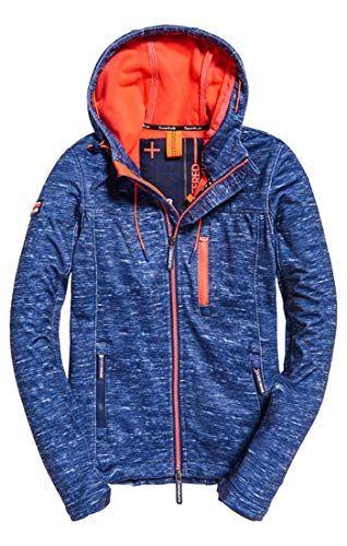 Superdry Damen Hooded Windtrekker Sportjacke Blau Navy Slub Coral Bliss Xe9 Large Herstellergrosse 14 0 Hooded Jacket Jackets Superdry