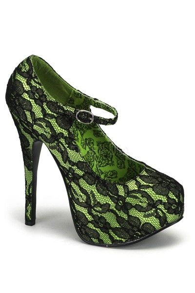 AwesomeNice 5 inch Heel Lace Maryjane W/Concealed Platform Lime Green Satin-Black Lace