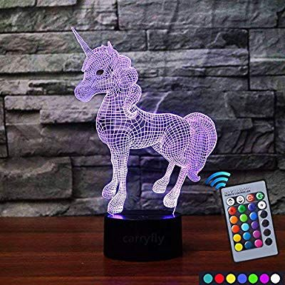 Amazon Com Carryfly Unicorn Night Light Kids Night Light Optical Illusion 7 Colors Change With Remote Birthday Gifts Fo Night Light Kids Kids Night Kids Lamps