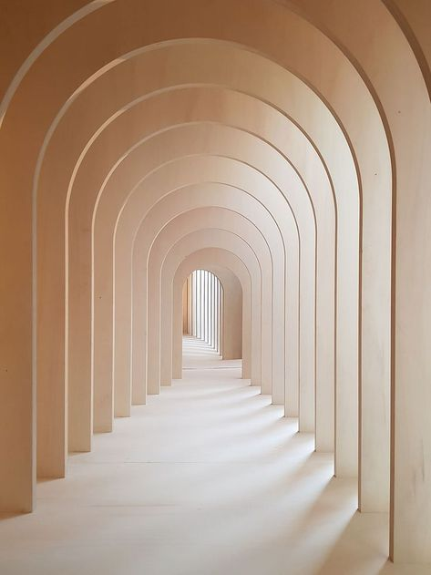 Light peach tan arches in hallway minimal architecture minimal photography – 2019 - Architecture Decor Minimal Architecture, Interior Architecture, Interior And Exterior, Arch Interior, Interior Painting, Futuristic Architecture, Diy Interior, 3d Interior Design, Drawing Architecture