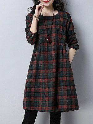 Round Neck  Patch Pocket  Checkered Shift Dress