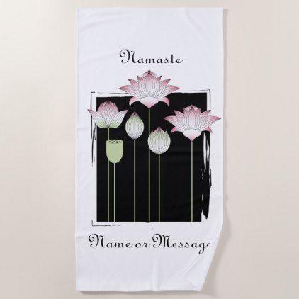 Girl Pink Lotus Flower Namaste Modern Chic Black Beach Towel