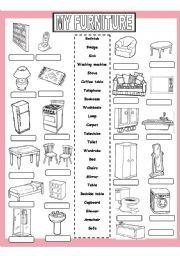 English worksheet: My Furniture | Enkku | Pinterest | Worksheets ... | furniture exercises esl